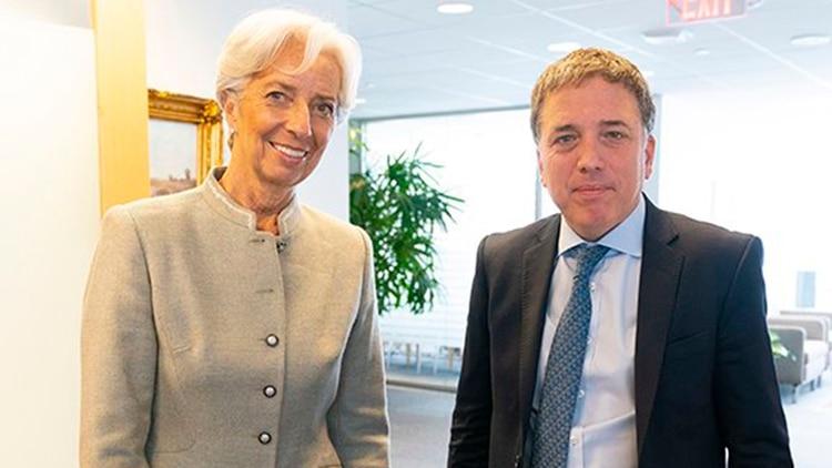Lagarde y Dujovne, el mes pasado, en Washington (@FMInoticias)
