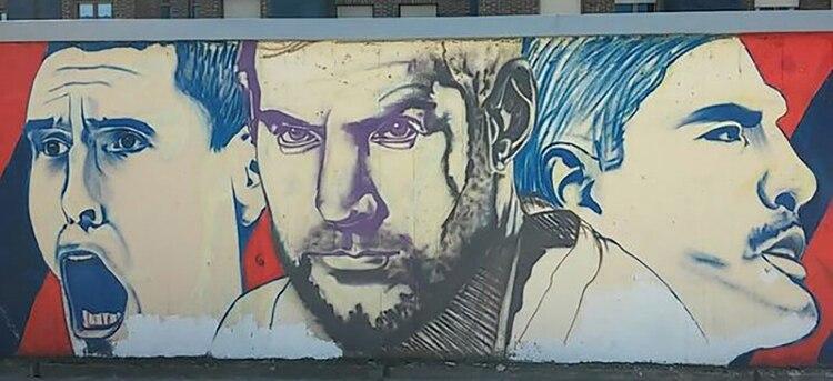 Mural con Prigioni, Nocioni y Scola, prueba de la relación entre los fanáticos del Baskonio y Argentina