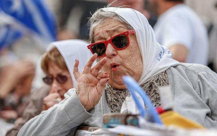 Bonafini durante la marcha del 24 de marzo pasado