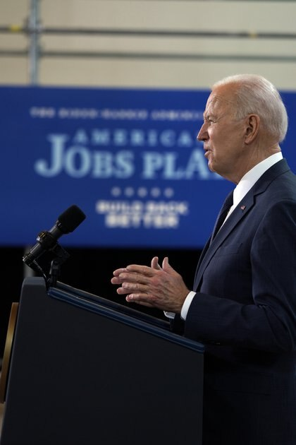President Joe Biden talks about his infrastructure plan at the Carpenters Pittsburgh Training Center in Pittsburgh on Wednesday, March, 31 2021. President Biden appeared in western Pennsylvania Wednesday afternoon to unveil his $2 trillion infrastructure plan, a far-reaching proposal that he will seek to pay for with a substantial increase in corporate taxes. Anna Moneymaker/The New York Times)