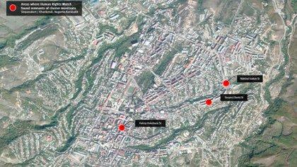 Las áreas donde HRW encontró restos de municiones de racimo en Stepanakert, Nagorno Karabaj
