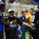 Culiacán, Sinaloa, 17 de septiembre de 2018. Diego Armando Maradona director tecnico de Dorados en festejo, durante el partido de la jornada 8 del torneo Apertura 2018 de la Liga de Ascenso Bancomer MX, entre Dorados de Sinaloa y Cafetaleros de Tapachula celebrado en el estadio Banorte. Foto: Imago7/Roberto Armenta