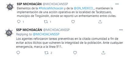 Micowacan informa sobre la actividad en el municipio de Dingkinton (Foto: Twitter / MichoaconSP)