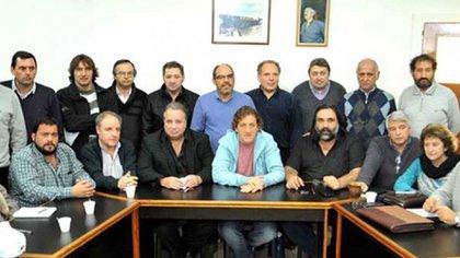 Balcedo, junto a Roberto Baradel y Oscar De Isasi de ATE, hoy de paro contra los despidos y el ajuste.