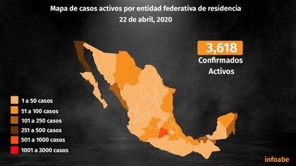 Mapa de casos activos por entidad federativa de residencia (Foto: Steve Allen/Infobae)