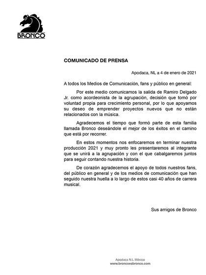 Bronco informó la salida de Ramiro Delgado Jr (Foto: Twitter@Grupo_Bronco)
