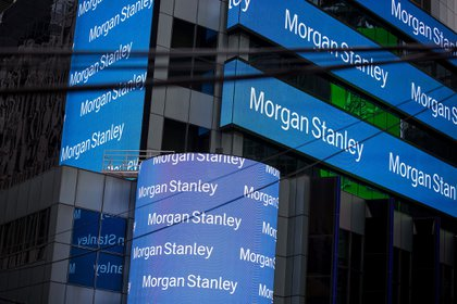Signage is displayed outside Morgan Stanley & Co. headquarters in the Times Square neighborhood of New York.