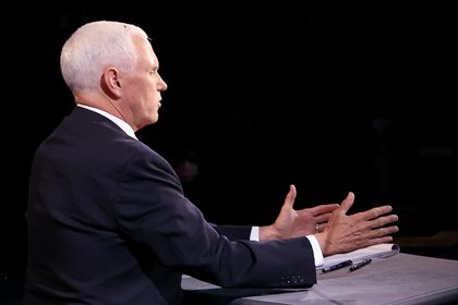 El vicepresidente de los Estados Unidos, Mike Pence, durante el debate vicepresidencial. EFE/EPA/Justin Sullivan