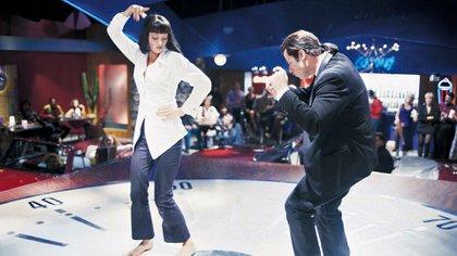 "John Travolta y Uma Thurman en la incónica escena del baile en ""Pulp Fiction"""