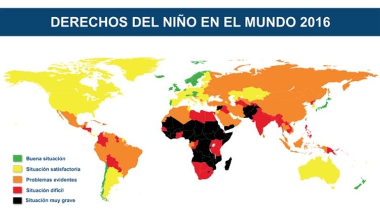 Mapa publicado por Humanium en el 2015 sobre la siituación de los Derechos del niño alrededor del mundo.