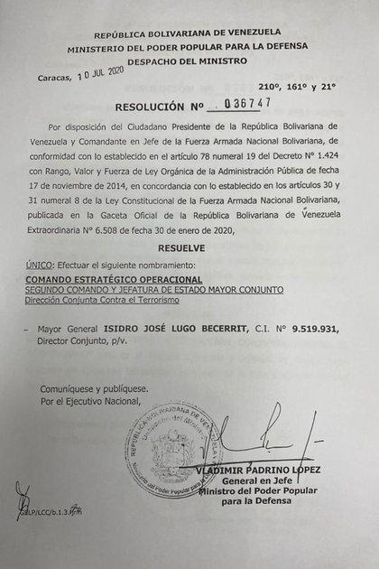 Se creó la Dirección Conjunta contra el Terrorismo, en la que fue nombrado el MG (GNB) Isidro José Lugo Becerrit