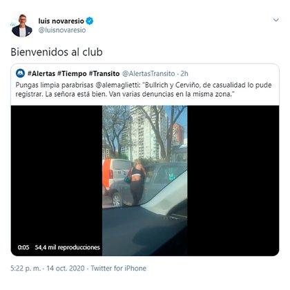 El tuit del periodista Luis Novaresio.