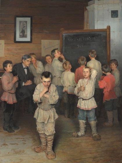 """Cálculo mental"" (1895) de Nikolay Bogdanov-Belsky"