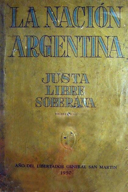 """La portada del libro editado en 1950, """"Año del Libertador General San Martín"""""""