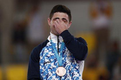 Federico Molinari en el tercer escalón del podio de los Juegos Panamericanos (Foto: REUTERS/Susana Vera)