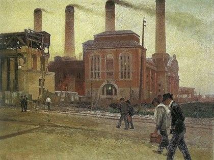 """""""Usina"""", 1914. Óleo sobre tela, 82 x 106 cm, en Museo de Artes Plásticas """"Eduardo Sívori"""""""
