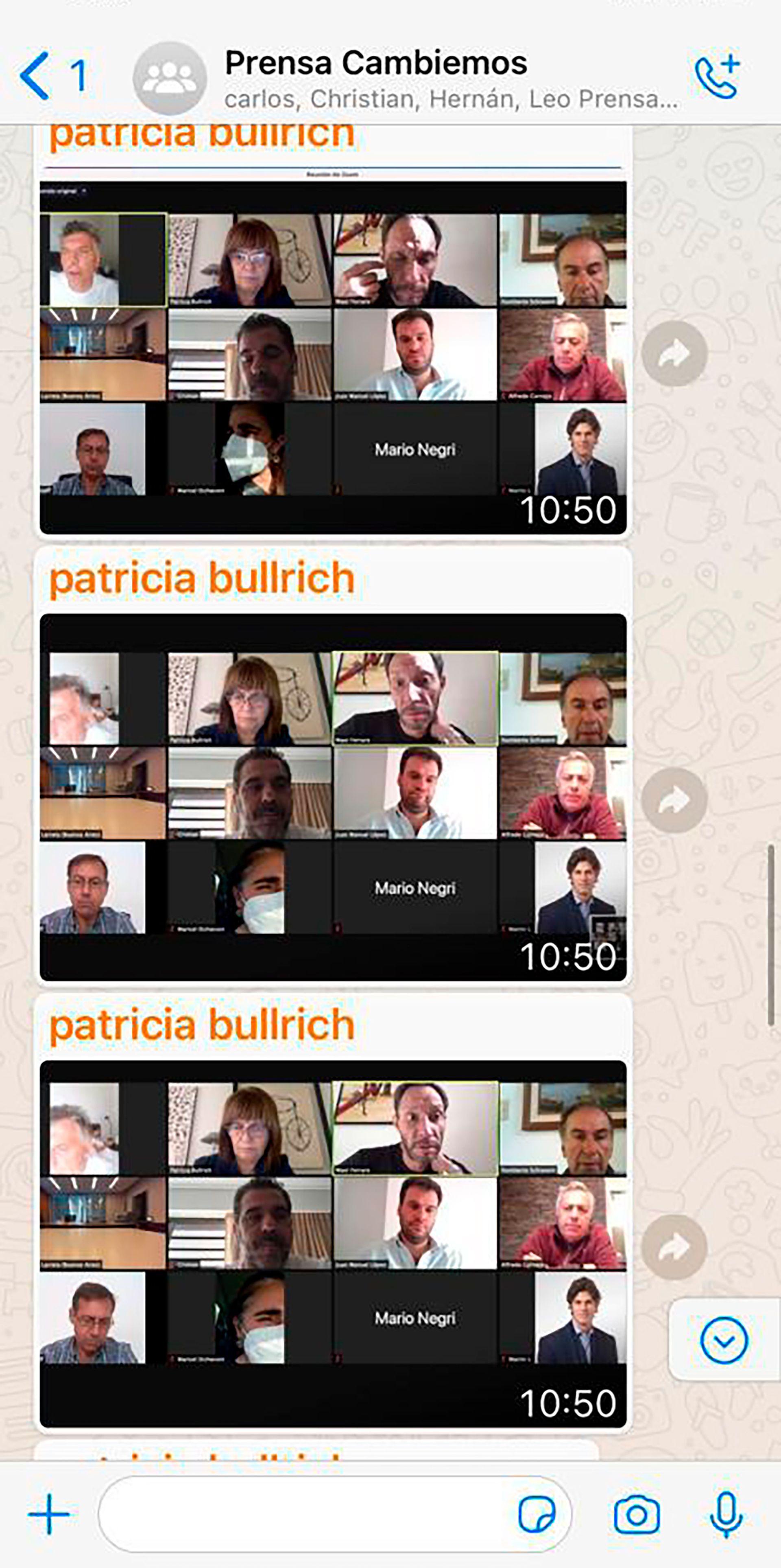 Las capturas de pantalla del grupo de WhatsApp de Juntos por el Cambio que demuestran que Patricia Bullrich subió las fotos de Mauricio Macri en la cama