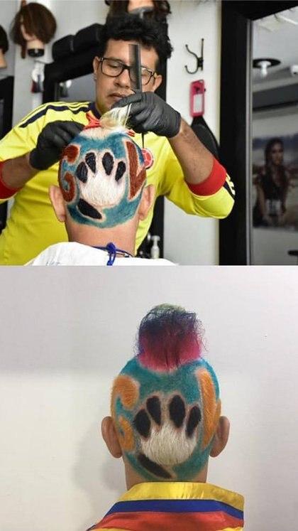 Peinado que se hizo en las eliminatorias del Mundial de Brasil 2014, en honor al 'Tigre' Falcao, delantero colombiano del Mónaco.