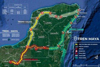 La ruta del Tren Maya que tendrá una extensión de 1,500 kilómetros (Foto: Especial)