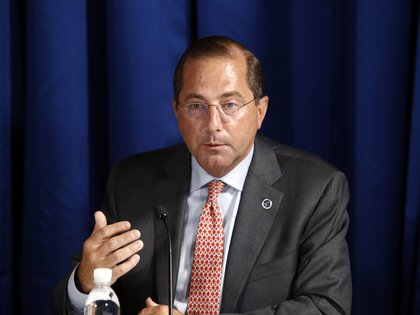 Health and Human Services Secretary Alex Azar speaks during a roundtable discussion with President Donald Trump on the coronavirus outbreak and storm preparedness at Pelican Golf Club in Belleair, Fla., Friday, July 31, 2020. (AP Photo/Patrick Semansky)