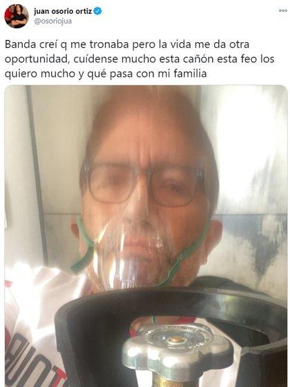 Juan Osorio se mostró conectado a un tanque de oxígeno