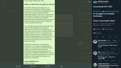 Instituto Municipal del Deporte y la Recreación de Armenia (Imdera) comunicó oficialmente que no prestará el estadio Centenario para la realización del partido de cuartos de final de la Copa BetPlay Dimayor 2020 entre Deportes Tolima y Atlético Nacional / (Twitter: @ImderaArmenia).