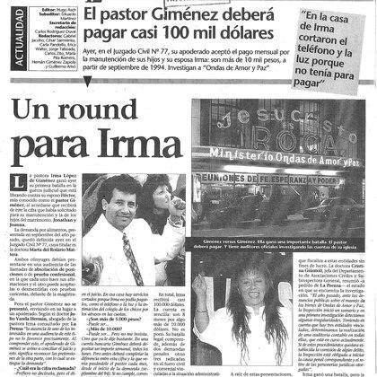 La pelea de Irma y el Pastor Giménez, en el diario La Prensa (Gentileza del archivo Tea y Deportea)