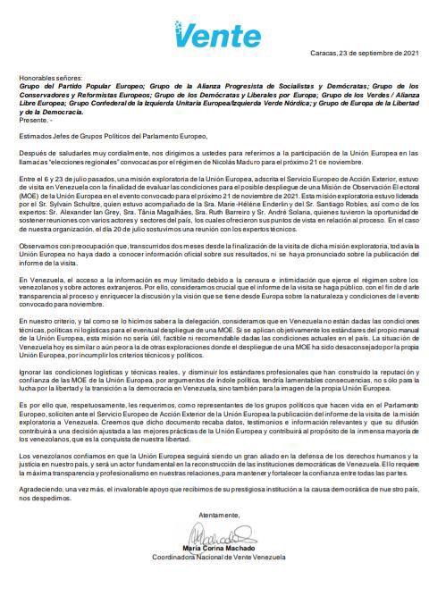 Maria Corina Machado Carta UE