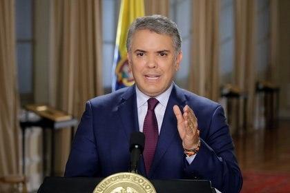 El presidente de Colombia Iván Duque Márquez durante una alocución en el Palacio de Narino (Presidencia Colombia vía Reuters)