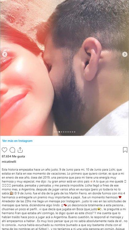 El posteo completo de Micaela Tinelli por su relación con Lisandro López (Instagram)