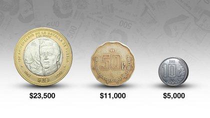 Las tres monedas de centavos y 10 pesos que se cotizan en línea desde 5,000 hasta 23,500 pesos