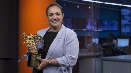 Andria Zafirakou, ganadora del Global Teacher Prize 2018 en Infobae (Crédito: Santiago Saferstein)