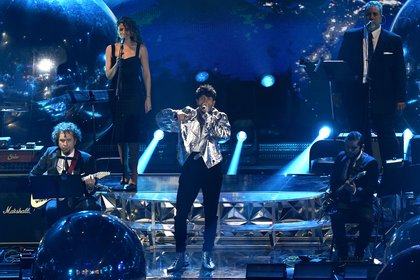 Sebastian Yatra performs at the 21st Latin Grammy Awards, airing on Thursday, Nov. 19, 2020, at American Airlines Arena in Miami. (AP Photo/Marta Lavandier)