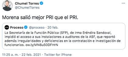 Chumel Torres cuenta con tres millones de seguidores en Twitter (Foto: captura de pantalla)