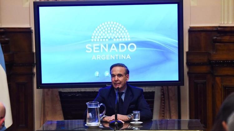Pichetto brindó una conferencia en el Senado (foto Julieta Ferrario)