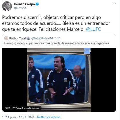 El mensaje de Hernán Crespo para Marcelo Bielsa