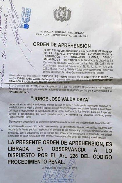 La orden de detención contra VAlda