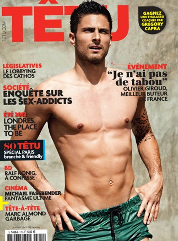 Olivier Giroud fue tapa de la revista gay Têtu
