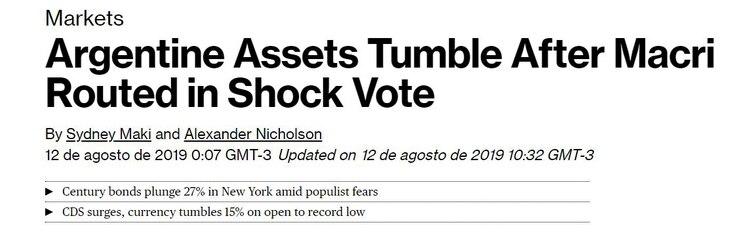 """Bloomberg nota la """"caída"""" de activos tras el """"shock electoral"""""""