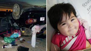 El milagro Chloe: sus padres volcaron en la ruta, la beba salió despedida del auto y la hallaron ilesa y sonriendo