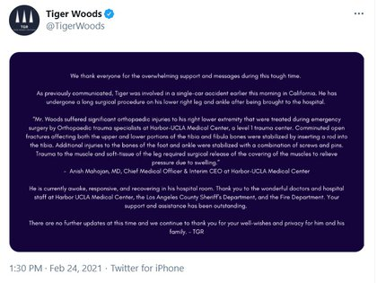 El primer parte médico de Tiger Woods
