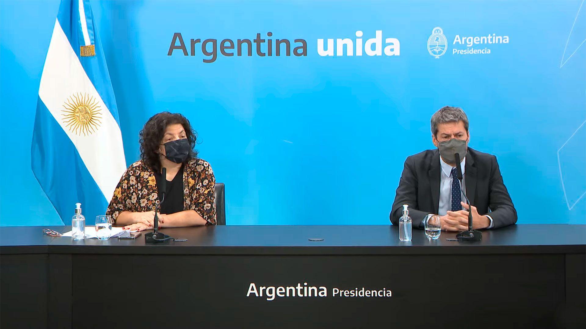 Conferencia de prensa de la ministra Carla Vizzotti junto al ministro Matías Lammens