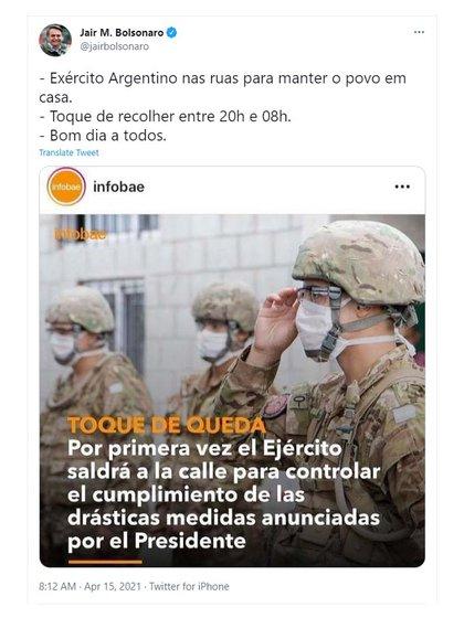 ok Jair Bolsonaro tuit toque de queda Argentina