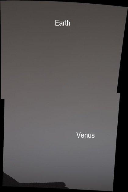 Con su cámara Mast, el rover de la NASA obtuvo la gran imagen de ambos planetas desde el suelo del monte Sharp (NASA)