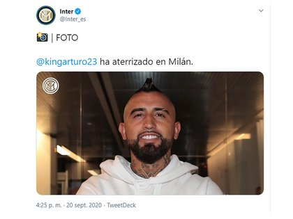 El tuit del Inter de Milan
