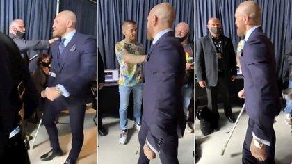 McGregor se retiró del recinto con la ayuda de una muleta para caminar