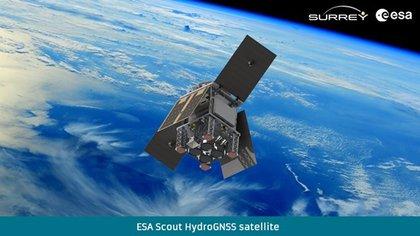 Recreación artística del satélite HydroGNSS en órbita. Imagen cedida por la ESA (Agencia Espacial Europea). SOLO USO EDITORIAL