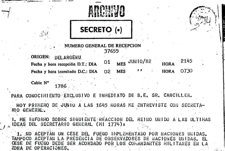 Cable del embajador argentino en ONU del 1° de junio de 1982