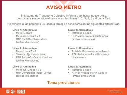 Alternativas de transporte en cada una de las 6 líneas afectadas por el incendio (Foto: Twitter@MetroCDMX)