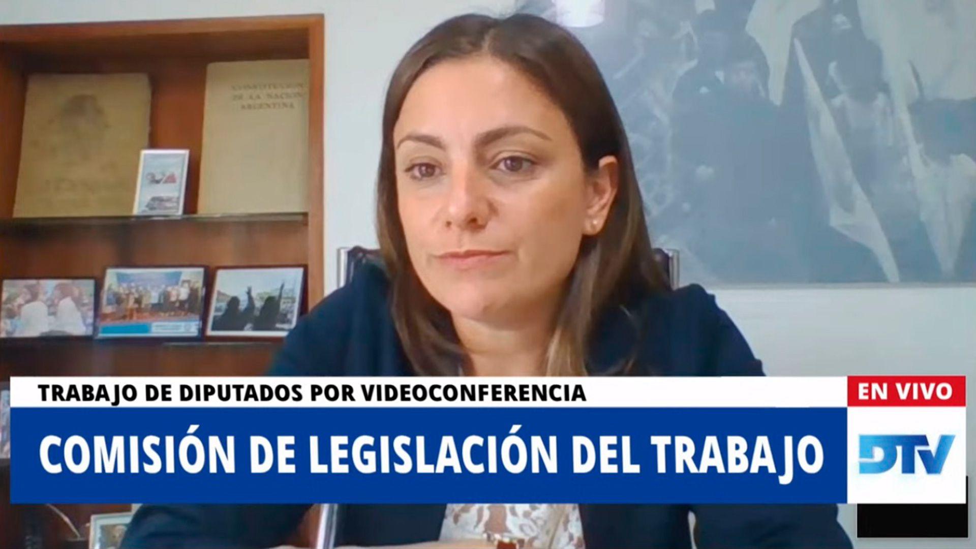 diputada Vanesa Siley, presidenta de la Comisión de Legislación del Trabajo de Diputados, en la reunión informativa sobre el teletrabajo